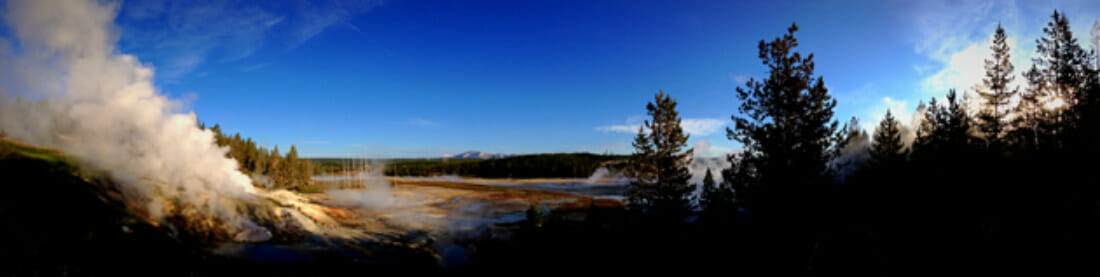 Panorama of Geyser Basin at Noris in Yellowstone National Park