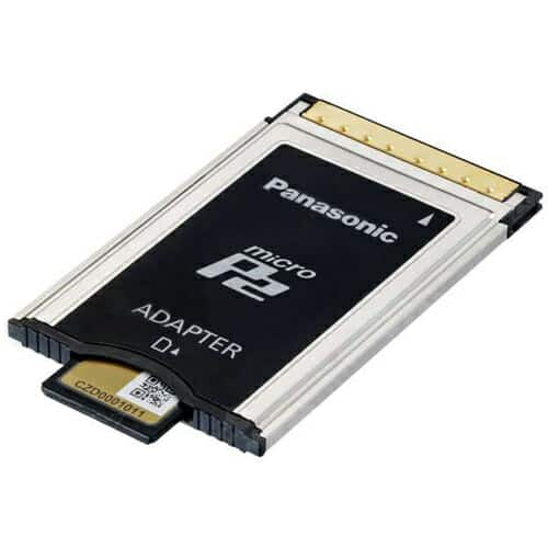 Panasonic Dual 64GB microP2 UHS-II Memory Cards and P2 Adapter Kit